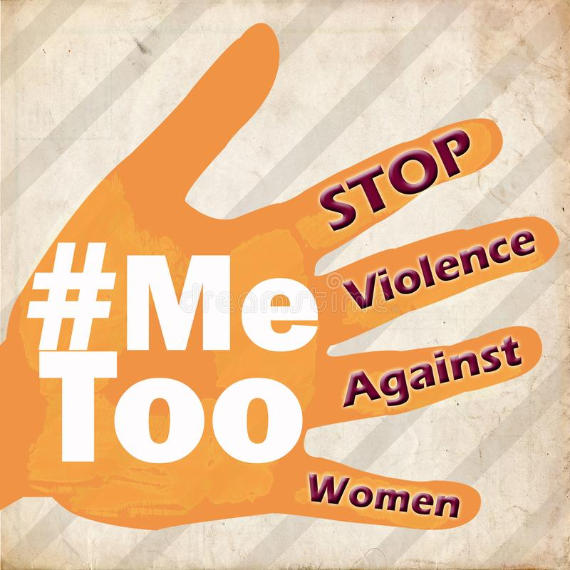 Stop violence against women Me too symbol grunge vintage stock photography