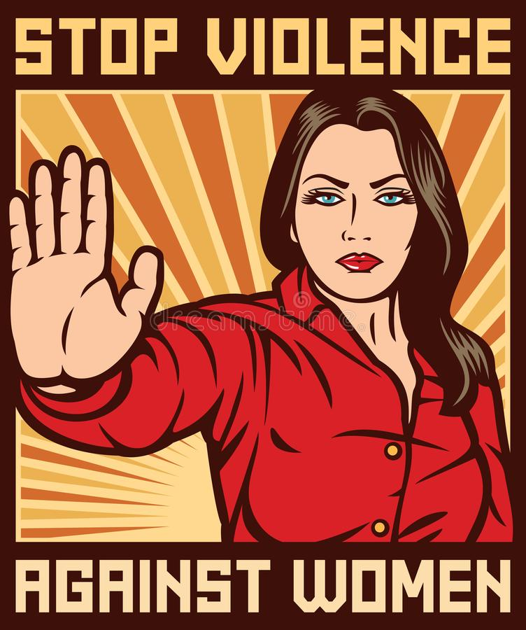 Stop violence against women poster. Background, stop violence against women royalty free illustration