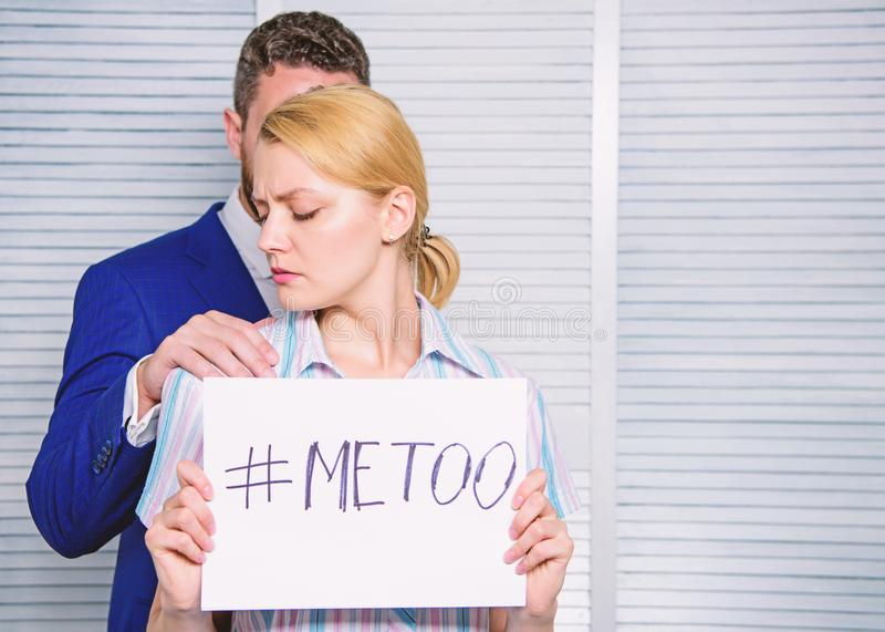 Stop violence against Women. Sexual harassment between colleagues and flirting in office. Office colleagues relations stock photos