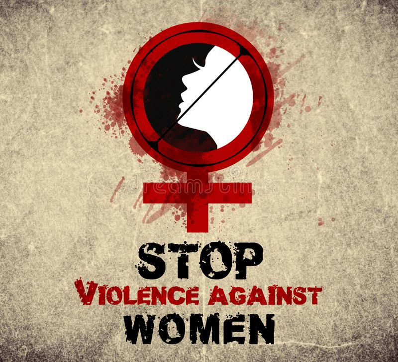 Stop violence against women vintage stock photos