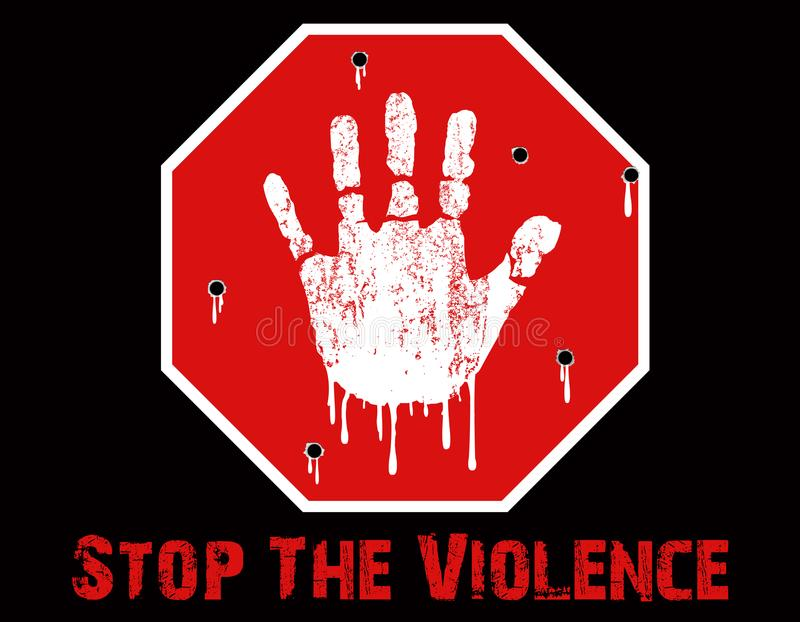 Stop The Violence Conceptual. A Stop The Violence Conceptual created in Photoshop, depicting a child`s grunge hand print on a stop sign, with bullet holes and stock illustration