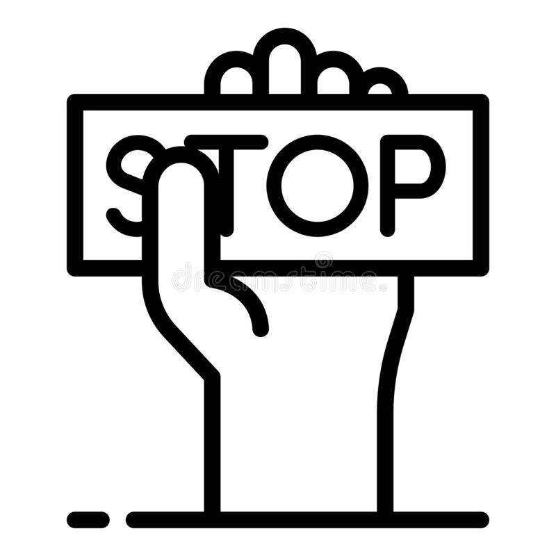 Stop violence icon, outline style royalty free illustration