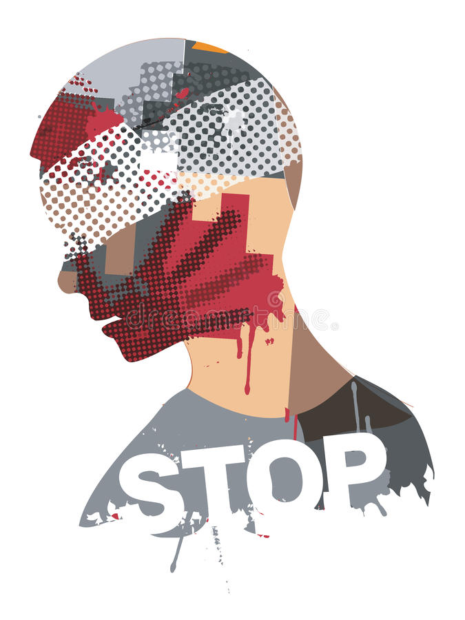 Stop violence and war. stock illustration
