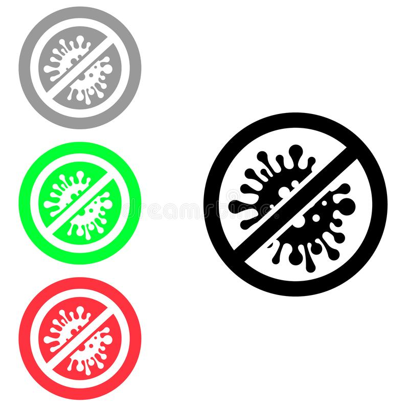 Stop virus vector icon. germs and microbe illustration symbol. Antibacterial and antiviral defence sign or logo. For web sites or mobile stock illustration