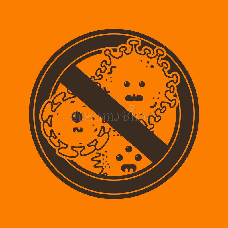 Stop viruses and microbes sign royalty free illustration