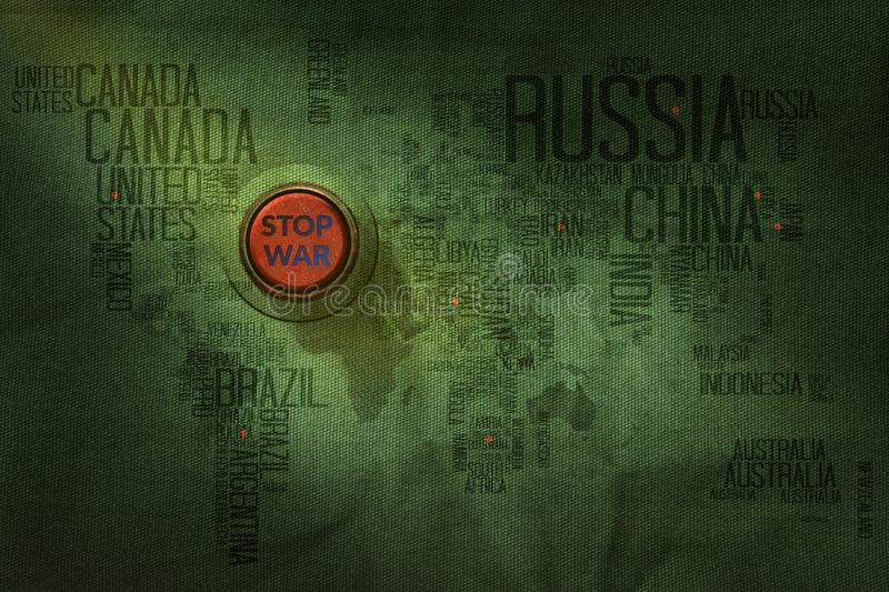 Stop War Concept, Button to push on World Map Military Fabric Te. Xture background stock photo