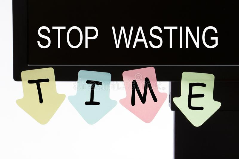 Stop Wasting Time. Text on computer display and reminder notes. Business concept royalty free illustration