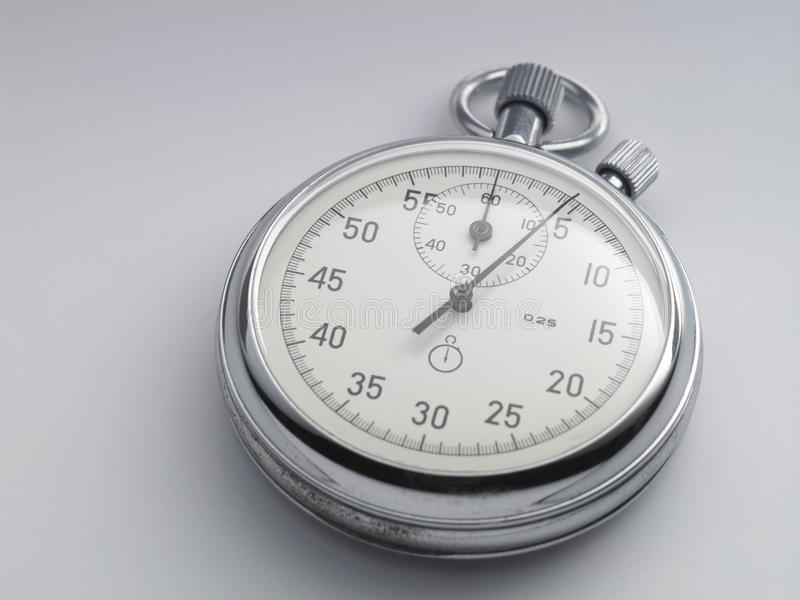 Stop watch. Close up of stop watch on the plain background stock photos