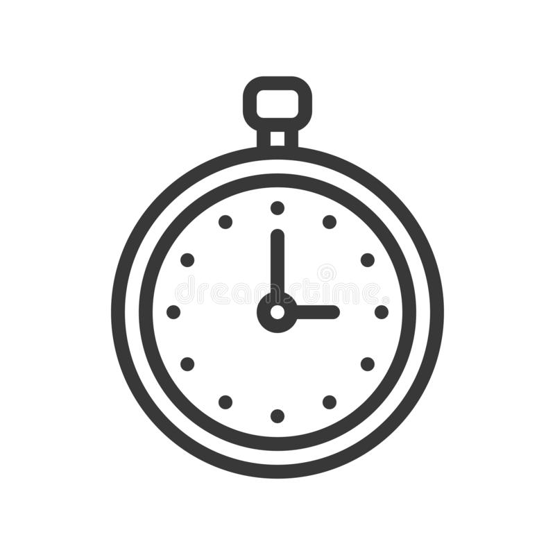 Stop watch or chronometer icon pixel perfect editable stroke out. Line royalty free illustration