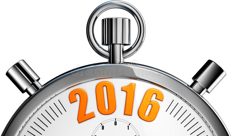 Stop watch 2016. 3D rendering of a stop watch with a 2016 icon stock images