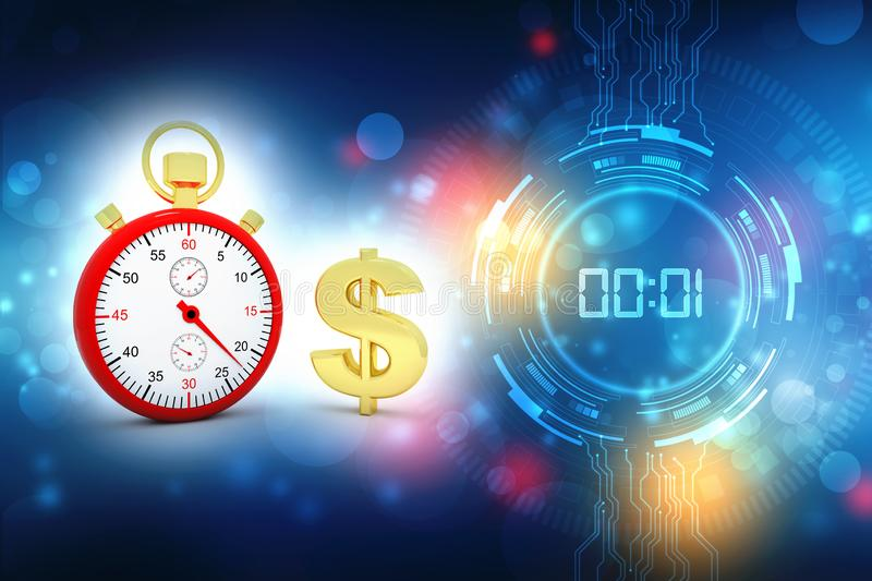 Stop watch with Dollar, business technology background royalty free stock images