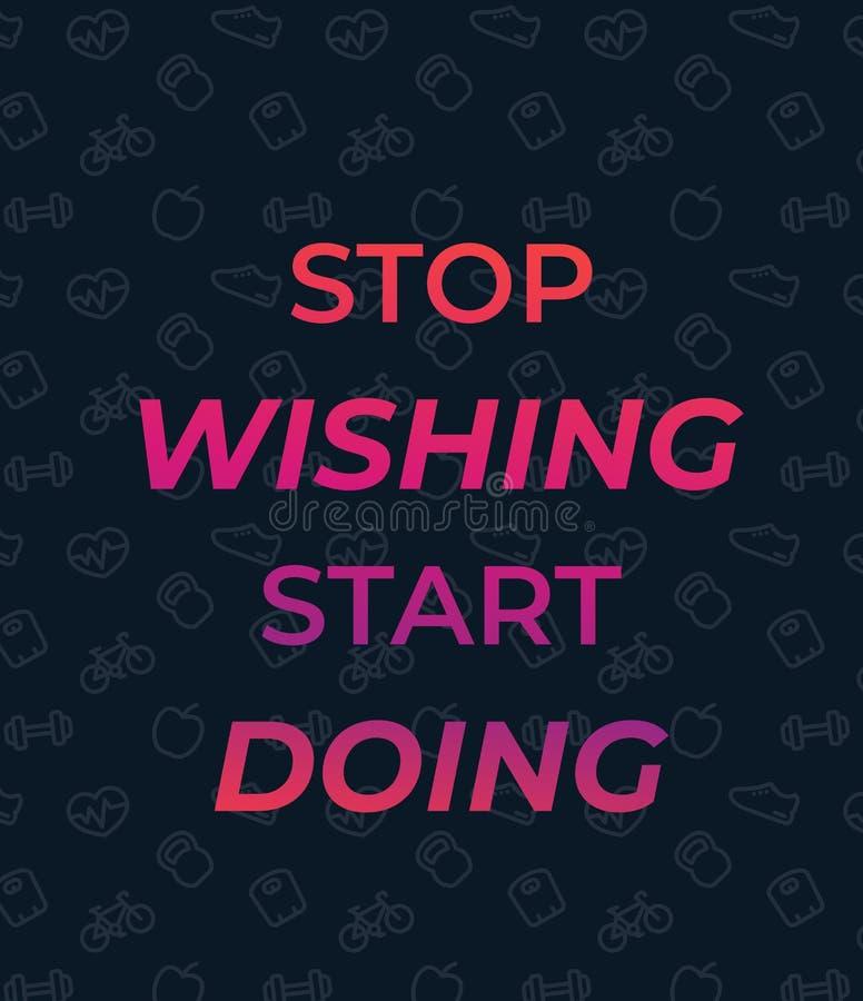 Stop wishing start doing, vector poster royalty free illustration