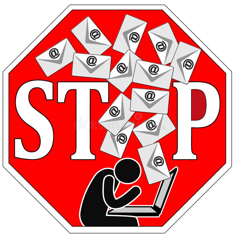 Stop writing emails. Directive to ban communication with text messages or memos with via computer and internet royalty free illustration