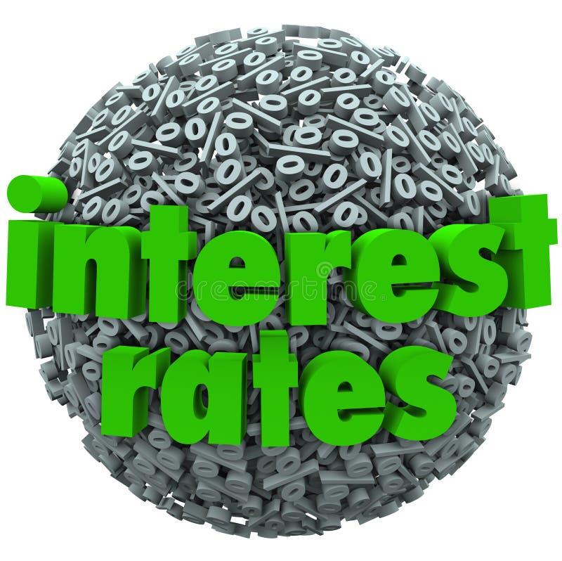 Stopa Procentowa procentu znaka symbolu sfery Hipoteczna pożyczka royalty ilustracja