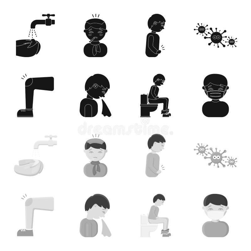 Stopa z stłuczeniem w kolanie, kicha choroby, mężczyzna obsiadanie na toalecie, mężczyzna w medycznej masce Choroba set royalty ilustracja