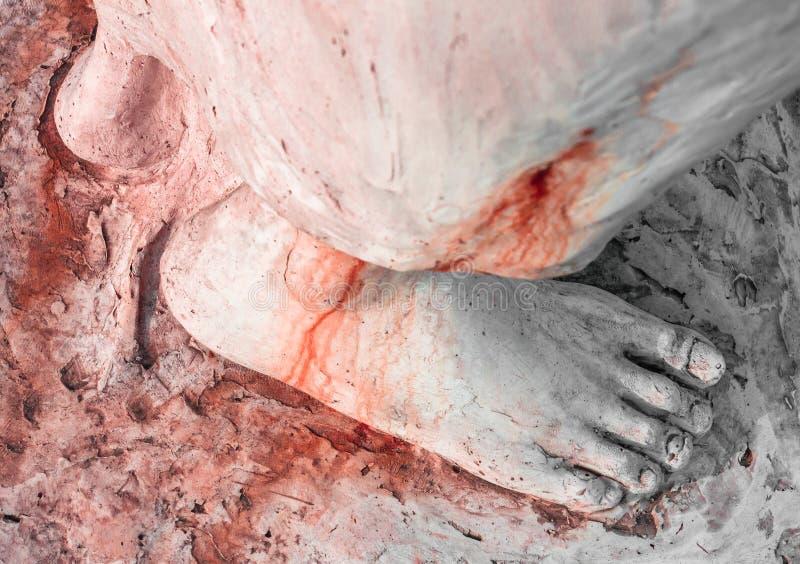 Stopa zakrwawiona Chrystus zdjęcie stock