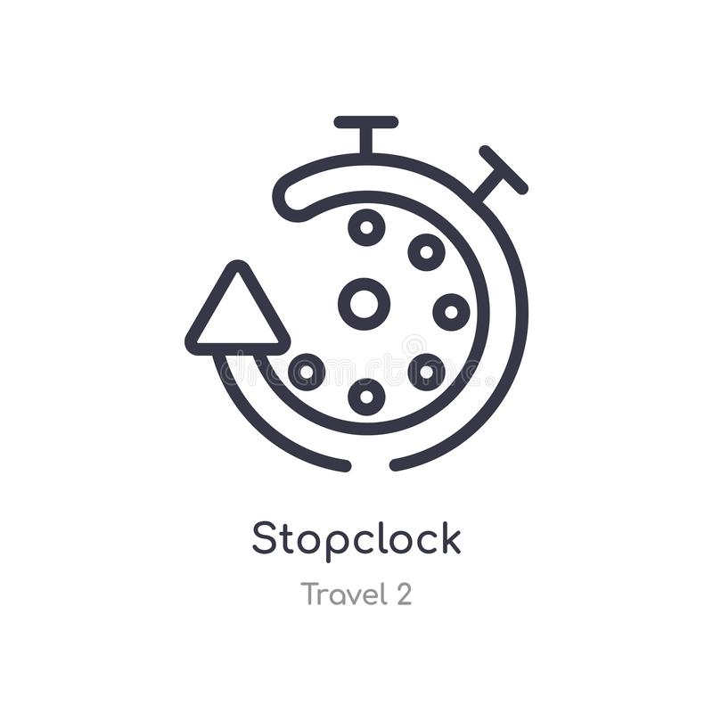 Stopclock outline icon. isolated line vector illustration from travel 2 collection. editable thin stroke stopclock icon on white. Background stock illustration