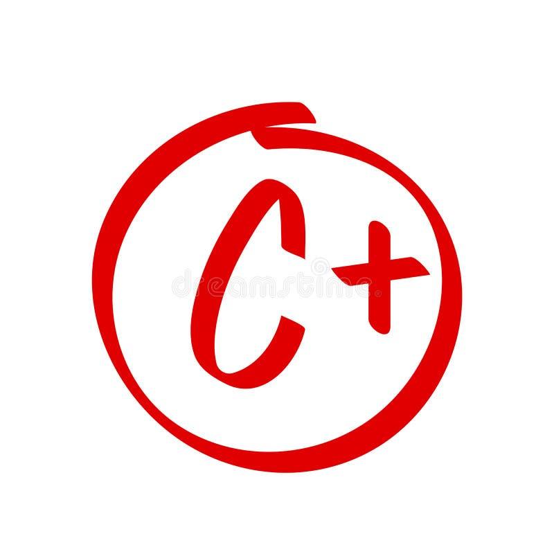 Stopień C Plus rezultata wektoru ikona Szkolny czerwonej oceny handwriting C plus okrąg ilustracja wektor