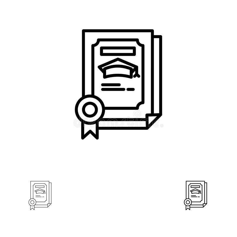 Stopień, osiągnięcie, świadectwo, Magisterski czerni linii ikony set, Śmiały i cienki royalty ilustracja