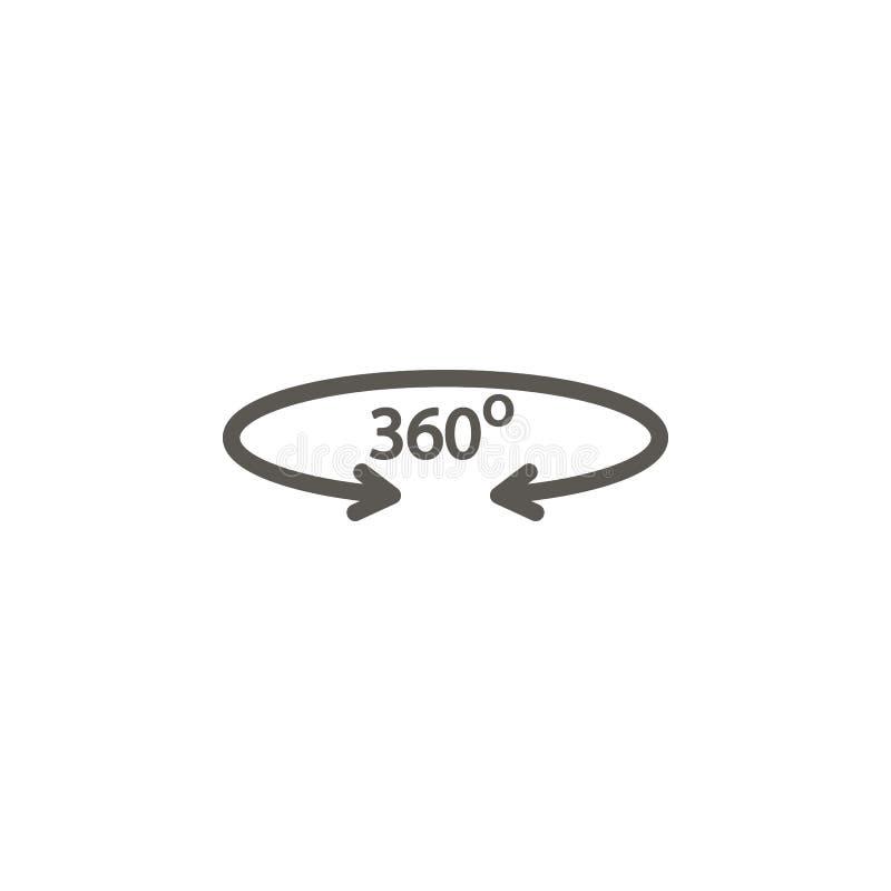 Stopień, rzeczywistość, wiruje, 360 wektorów ikona Prosta element ilustracja od UI poj?cia Stopień, rzeczywistość, wiruje, 360 we ilustracja wektor