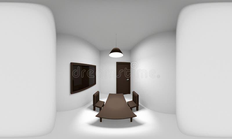 360 stopni bańczastej panoramy pokój, 3D rendering ilustracja wektor