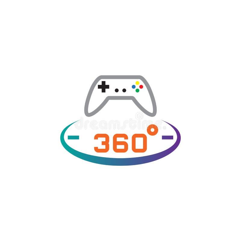 360 stopni gry linii panoramiczna ikona, konturu loga wektorowa ilustracja, liniowy piktogram odizolowywający na bielu ilustracja wektor