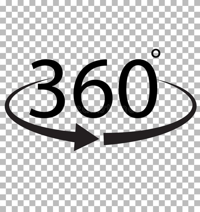 360 stopni ikona na przejrzystym tle ilustracja wektor