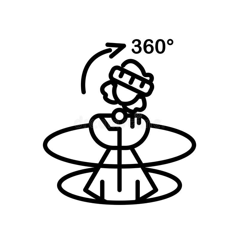 360 stopni ikona wektoru odizolowywającego na białym tle, 360 stopni podpisują, kreskowy symbol lub liniowy elementu projekt w ko royalty ilustracja