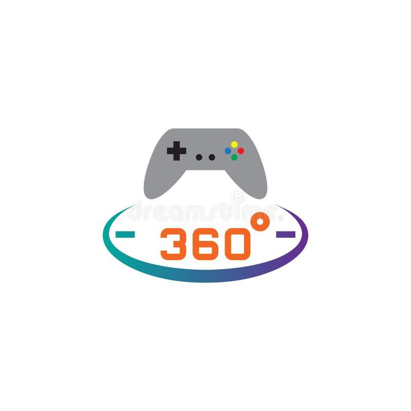 360 stopni ikony panoramiczny gemowy wektor, stała logo ilustracja, piktogram odizolowywający na bielu ilustracja wektor