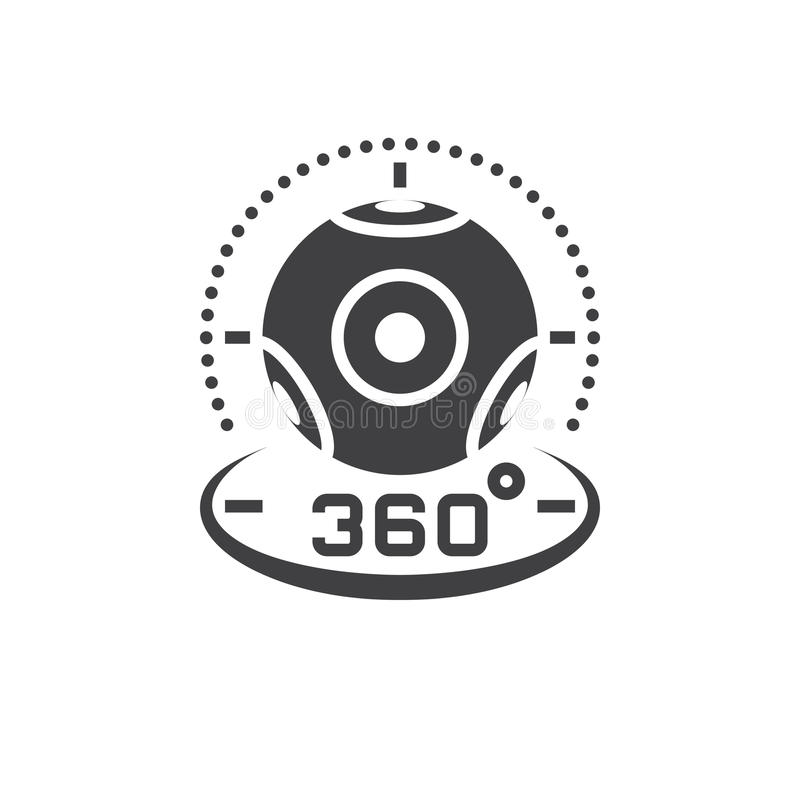 360 stopni kamera wideo ikony panoramiczny wektor, rzeczywistość wirtualna d ilustracja wektor