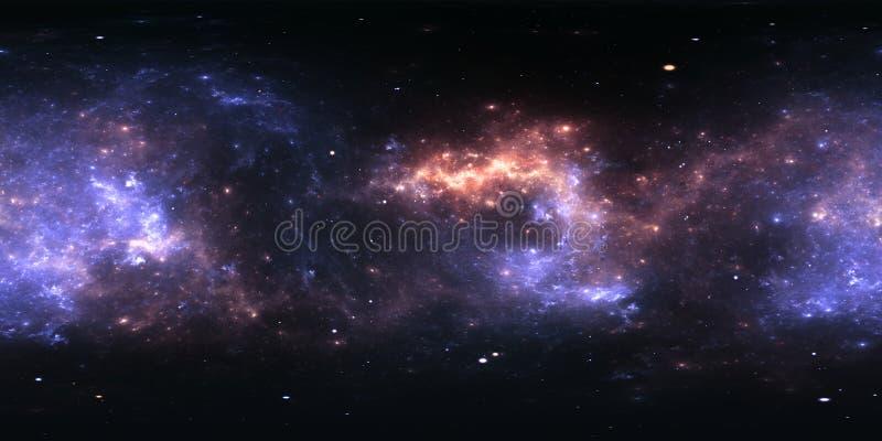 360 stopni mgławicy astronautyczna panorama, equirectangular projekcja, środowisko mapa HDRI bańczasta panorama royalty ilustracja
