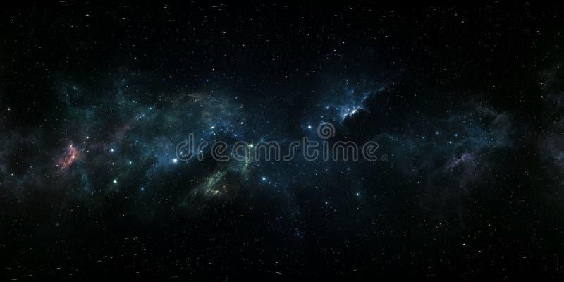 360 stopni mgławicy astronautyczna panorama, equirectangular projekcja, środowisko mapa HDRI bańczasta panorama Astronautyczny tł ilustracja wektor