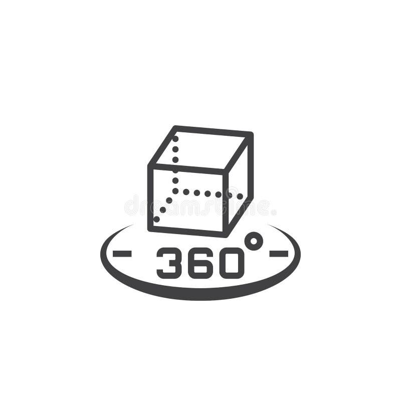 360 stopni obracania znak 3d sześcianu symbol kreskowa ikona, konturu vec royalty ilustracja