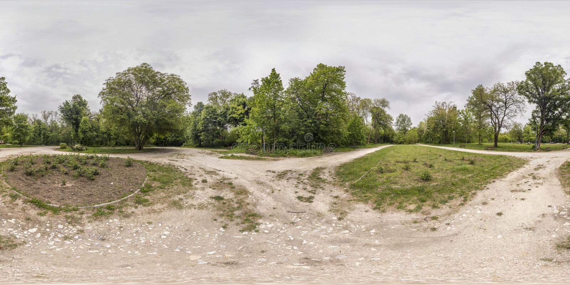 360 stopni panoramy odtwarzania i kultury park w Plovd obraz stock