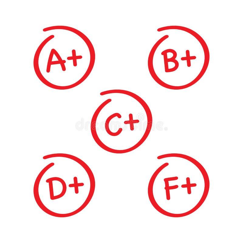 Stopni rezultaty ustawiający Ręka rysujący wektorowy stopień w czerwonym okręgu również zwrócić corel ilustracji wektora royalty ilustracja