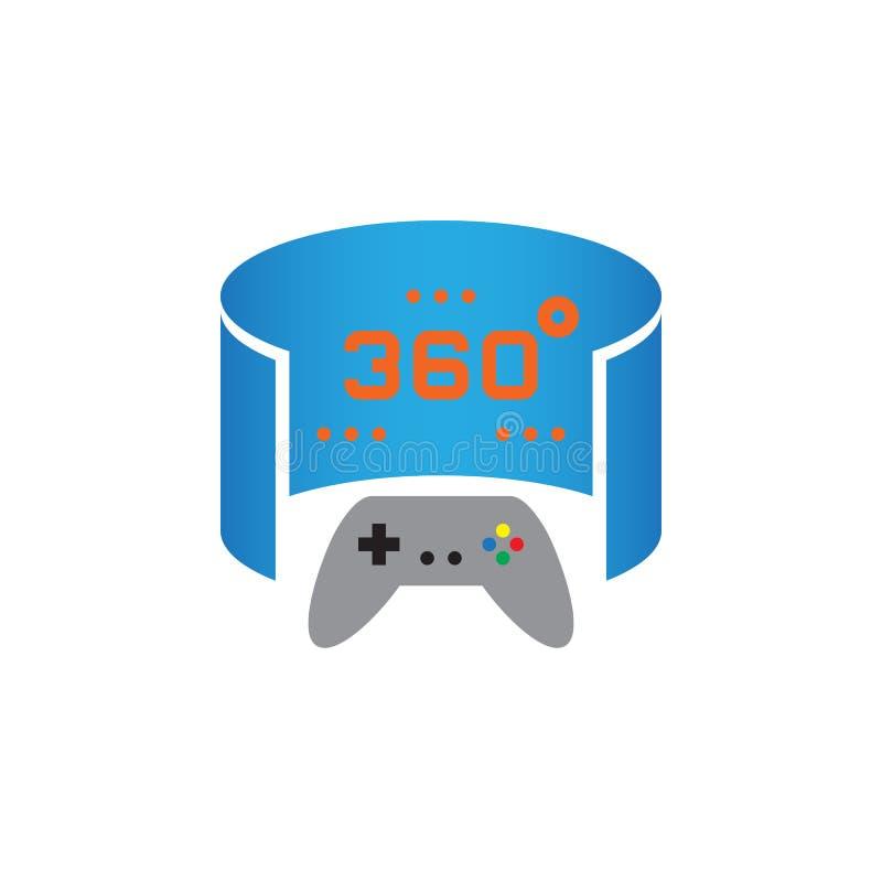 360 stopni wideo gry ikony panoramiczny wektor, stała logo ilustracja, piktogram odizolowywający na bielu ilustracja wektor