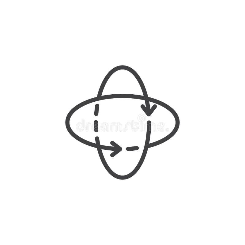 360 stopni wirują strzała konturu ikonę ilustracji