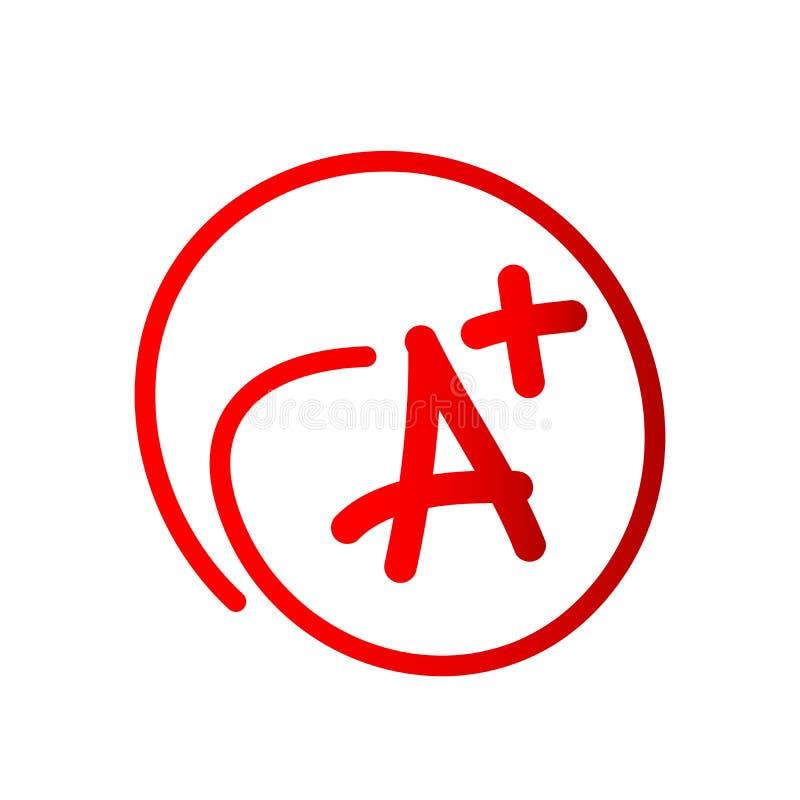 Stopnia rezultat - A plus ikony ikony ręka rysujący wektorowy stopień plus w z okręgiem na białym tle royalty ilustracja