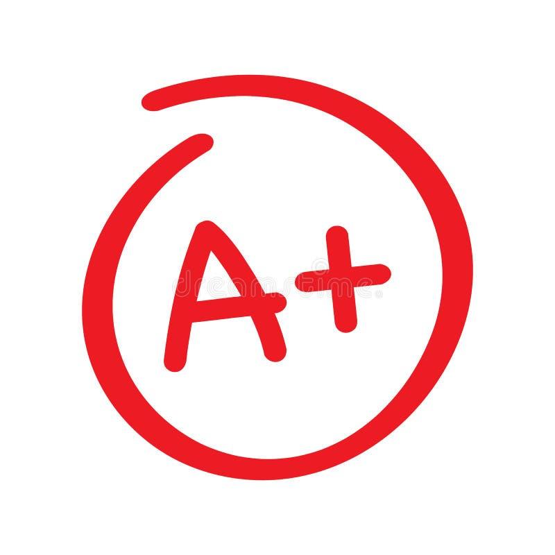 Stopnia rezultat A plus Ręka rysujący wektorowy stopień w czerwonym okręgu również zwrócić corel ilustracji wektora royalty ilustracja