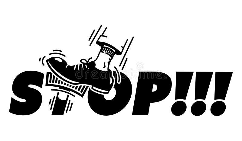 STOPP! - driftstopp på bromsarna stock illustrationer