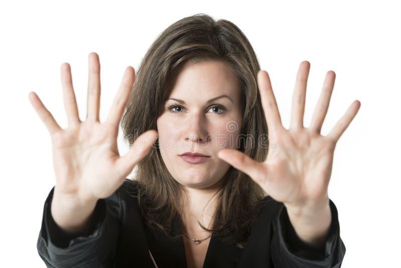 Stopp för hand för affärskvinna royaltyfria bilder