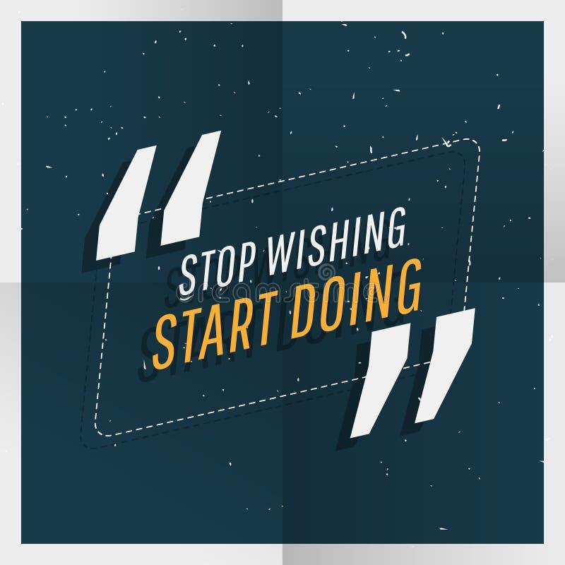 `-stopp som önskar starten som gör ` inspirerande kostnadsförslag stock illustrationer