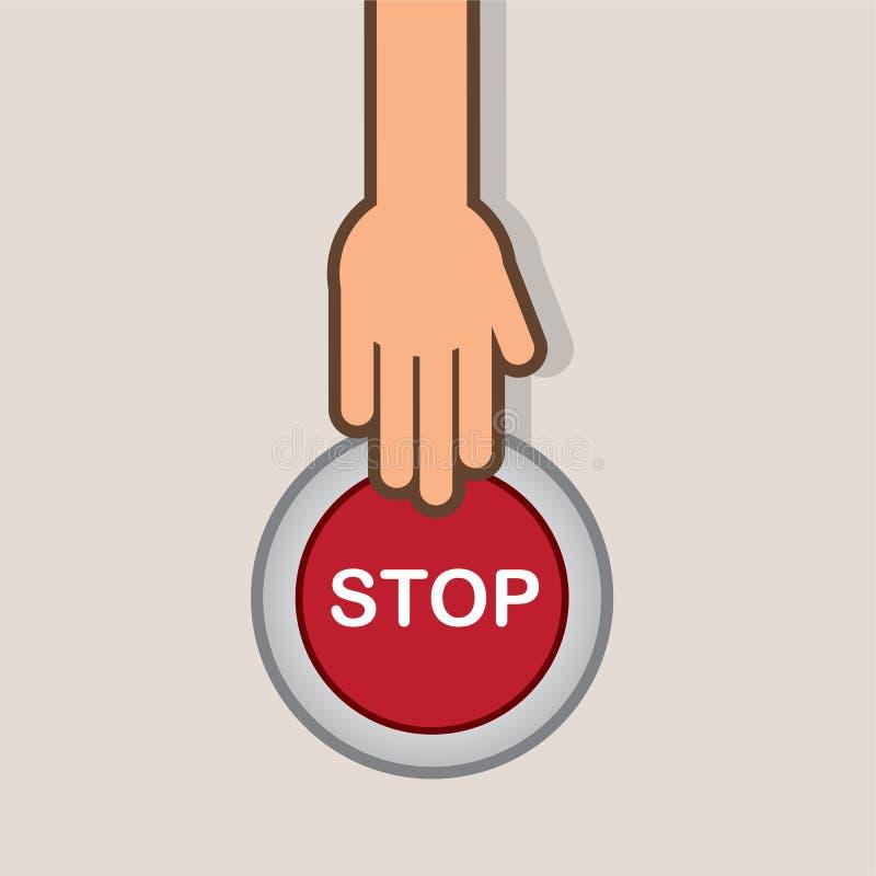 STOPP-Taste Hand lizenzfreie abbildung