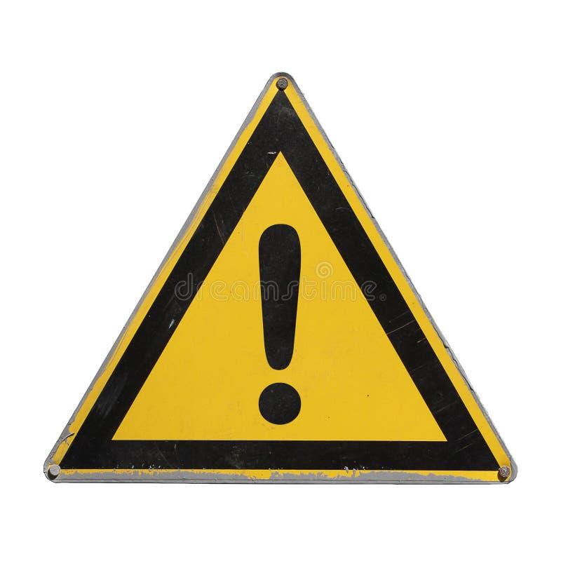 Stopp Varningsfara Gul triangel fotografering för bildbyråer