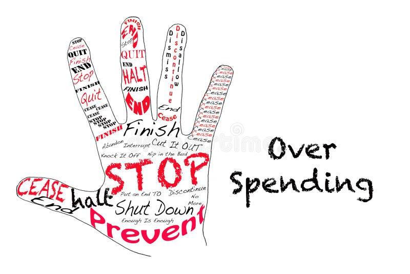 Stoppa över utgifter royaltyfri illustrationer
