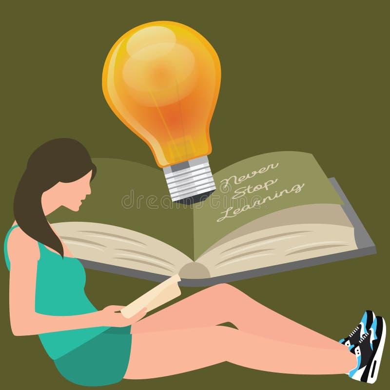 Stoppa aldrig att lära, flickan läser boken, sken för ljus kula vektor illustrationer