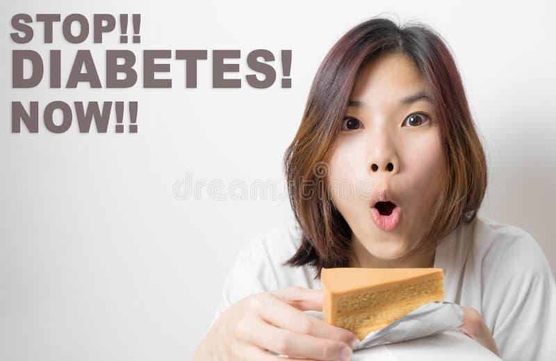 Stoppa att äta sötsaken, stag i väg från sockersjuka royaltyfri foto