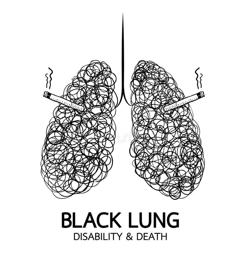 Stoppa att röka, begreppet för den svarta lungan royaltyfri illustrationer