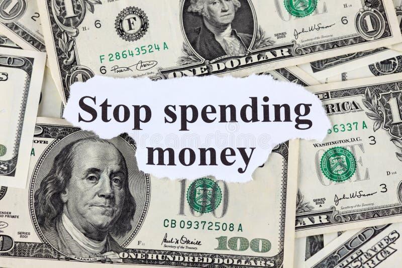 Stoppa att spendera pengar royaltyfria foton
