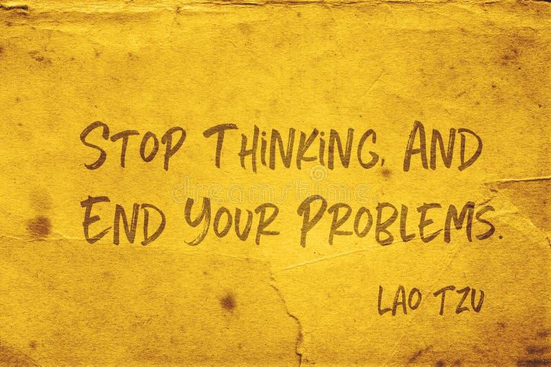 Stoppa att tänka Lao Tzu stock illustrationer